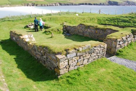 Photo: Remnants of 12th century chapel at St. Ninian's Isle, Shetland